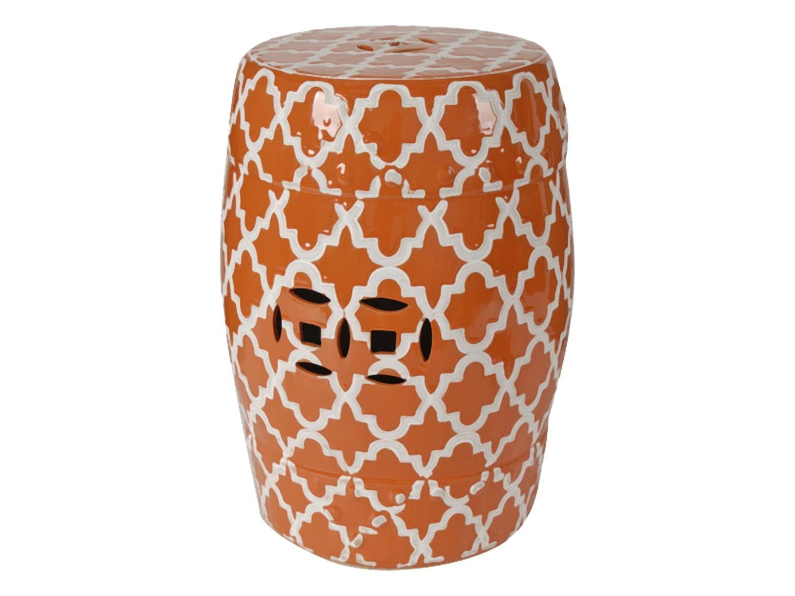 Керамический столик-табурет Istanbul StoolПриставные столики<br>Это предмет мебели, который удачно сочетает в себе сразу две функции — его можно использовать и как стол, и как табурет, в зависимости от вашего желания. Примечательно, что эта модель выполнена не из дерева, как следовало бы ожидать, а из грубой керамики. Столик-табурет выполнен в оранжевом цвете, эффектно декорирован белым орнаментом, удачно дополнен отверстиями, которыми удобно воспользоваться для его перемещения. Такой столик-табурет будет уместен в интерьере с элементами стиля модерн, но и, без сомнений, удачно впишется в интерьеры самых разных стилей.<br>Хотите больше приятных эмоций — купите столь необычный и яркий предмет для своего интерьера.<br><br>Material: Керамика<br>Height см: 46<br>Diameter см: 33