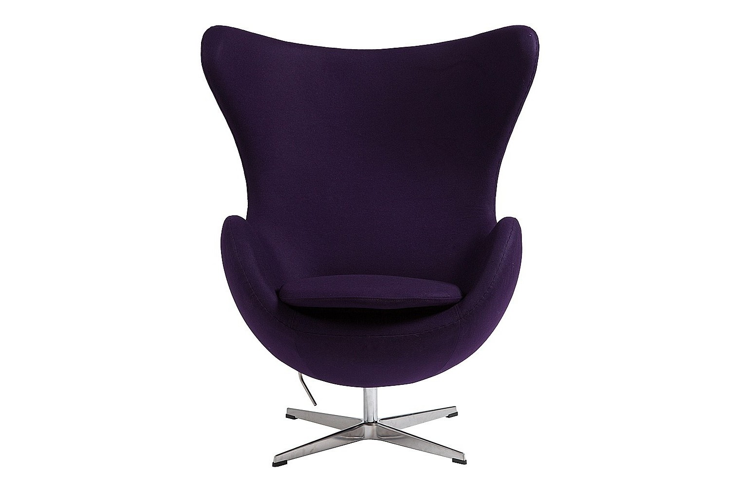 Кресло Egg ChairКресла с высокой спинкой<br>Кресло Egg Chair (Яйцо), созданное в 1958 году датским дизайнером Арне Якобсеном, обладает исключительной привлекательностью и узнаваемостью во всем мире, занимает особое место в ряду культовой дизайнерской мебели XX века. Оно имеет экстравагантную форму и неординарное исполнение, что позволило ему стать совершенным воплощением классики нового времени. Кресло Egg Chair, выполненное из кашемировой ткани фиолетового цвета в форме яйца, подарит огромное множество положительных эмоций и заставляет обращать на него внимание. Оно непременно задаёт основу для дизайна того или иного помещения. Прочный и массивный каркас из стекловолокна и ножка из нержавеющей стали гарантируют  долгий срок службы и устойчивость. Данное кресло — это поистине не стареющая классика в футуристическом исполнении! Купите великолепную реплику кресла Egg Chair — изготовленное из высококачественных материалов, оно понравится многим любителям нестандартного видения обыденных и, притом, качественных вещей.<br><br>Material: Шерсть<br>Width см: 82<br>Depth см: 76<br>Height см: 105