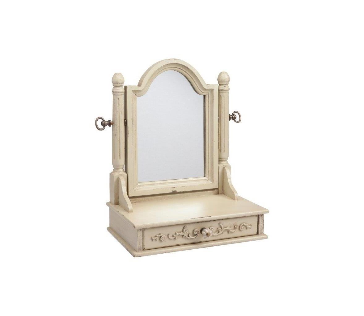 Зеркало настольное VanessaНастенные зеркала<br>Настольное зеркало Vanessa Beige прямоугольной формы с арочным верхом вмонтировано в деревянную оправу (ель) бежевого, слегка состаренного, цвета, внизу расположены удобные ящички. Этот удобный аксессуар для современной спальни с легкими потертостями под старину прекрасно разместится на вашем туалетном столике. Крепление на металлических шарнирах позволяет устанавливать его под любым удобным углом. Это высокого качества зеркало просто оживит ваш будуар!<br><br>Material: Дерево<br>Width см: 38<br>Depth см: 21<br>Height см: 74