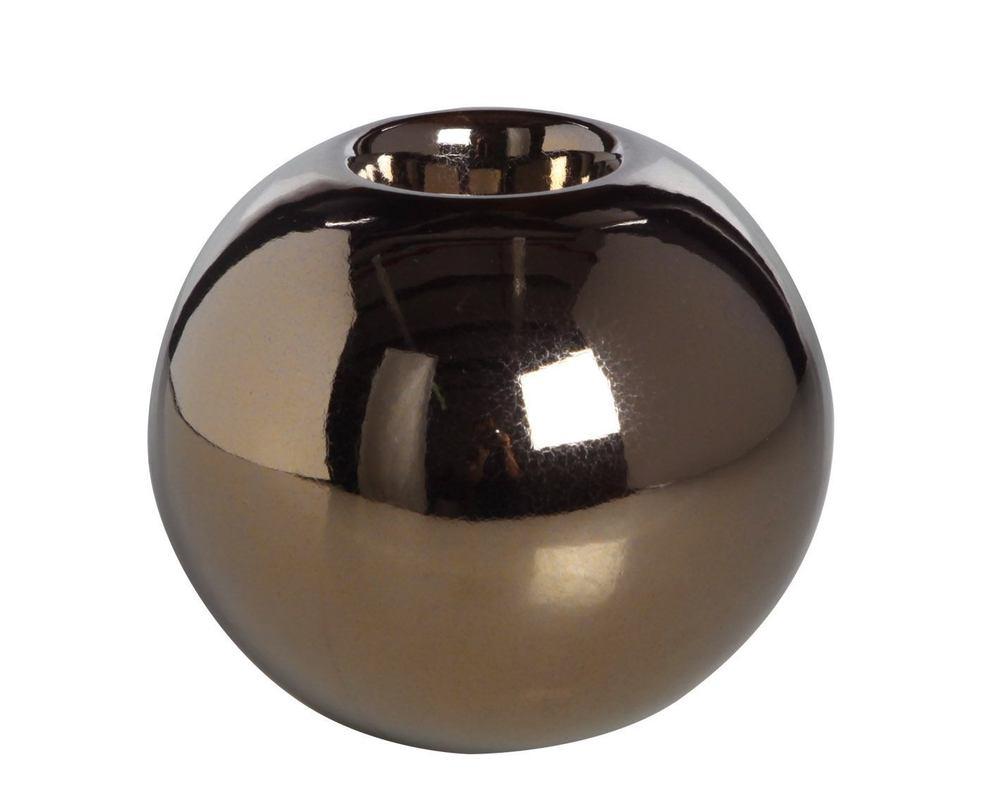 Подсвечник  декоративныйПодсвечники<br>Светильник в форме шара создаст неповторимую атмосферу в доме, добавит изюминку в интерьер. Подсвечник может использоваться в качестве светильника, арома-лампы, а днем будет служить в интересным элементом декора.<br><br>Material: Керамика<br>Height см: 11<br>Diameter см: 12