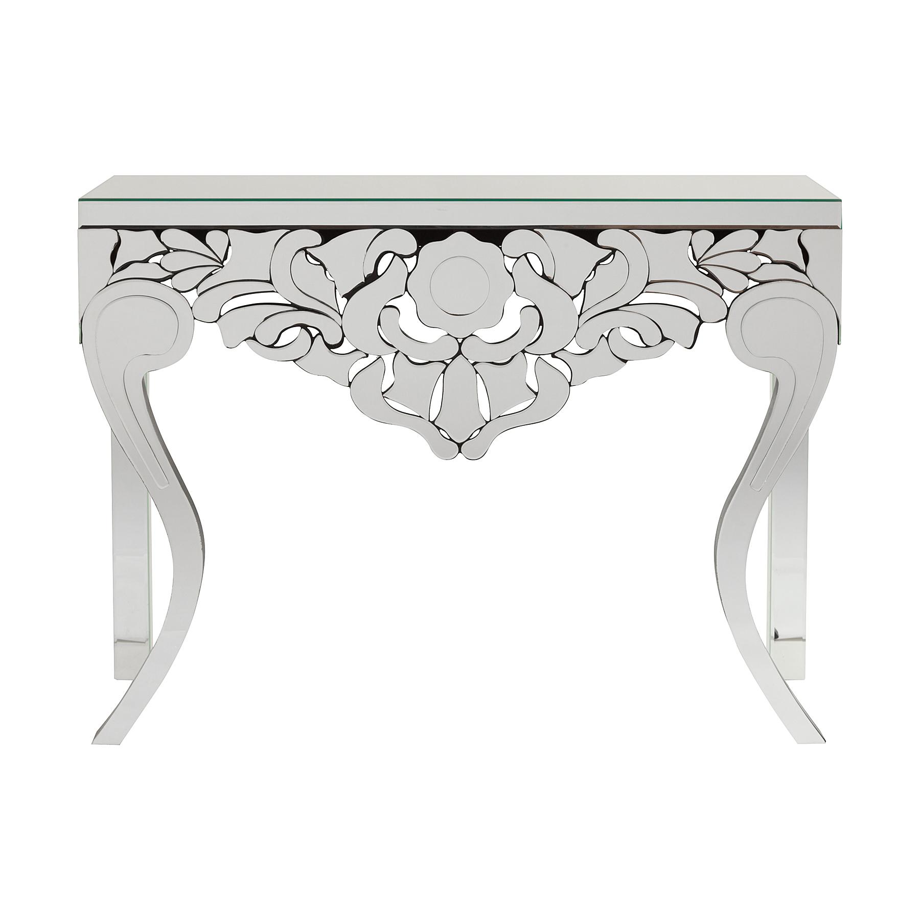 Зеркальная консоль RavennaИнтерьерные консоли<br>Оригинальная зеркальная консоль Ravenna — это роскошный предмет мебели, который придется по вкусу ценителям изысканных и дорогих вещей. Основание аксессуара изготовлено из МДФ, а по всей его поверхности расположены зеркала, отражающие блики света и визуально увеличивающие пространство, за счет этого консоль идеально впишется в любую комнату вашего дома. Зеркальная консоль способна визуально расширить даже узкие проходы в квартире. Эта конструкция подойдет для гостиной классического стиля, роскошного арт-деко, можно удачно разместить в холле или спальне. Эффектная консоль Ravenna позволит разместить на своей столешнице различные предметы декора, винтажные вазы или часы. Приобретите консоль Ravenna, это отличный подарок!&amp;amp;nbsp;&amp;lt;div&amp;gt;&amp;lt;br&amp;gt;&amp;lt;/div&amp;gt;&amp;lt;div&amp;gt;&amp;lt;br&amp;gt;&amp;lt;/div&amp;gt;<br><br>Material: Стекло<br>Width см: 110<br>Depth см: 37<br>Height см: 80