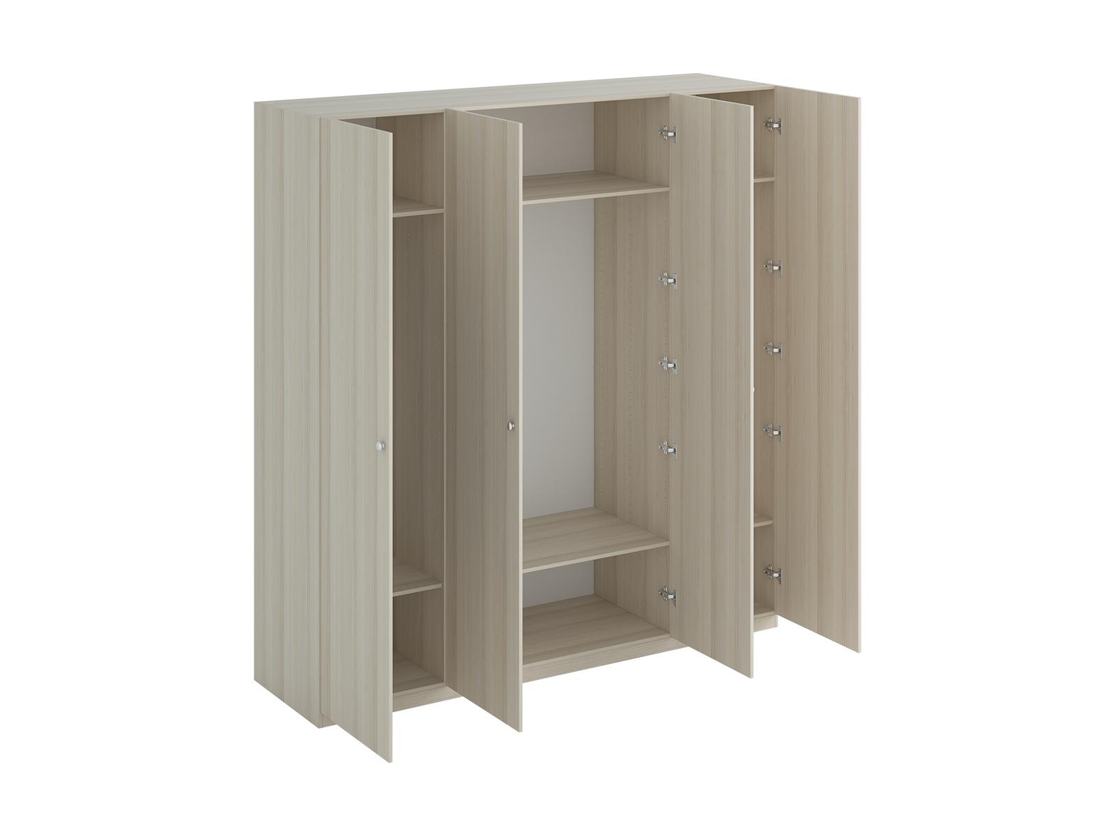 Шкаф Uno Ш4Платяные шкафы<br>Шкаф четырехдверный состоит их трёх отделений. В отделениях расположены верхние стационарные и нижние съемные полки. Шкаф установлен на регулируемые опоры. Данную мебель рекомендуется крепить к стене. Ручки и внутренние элементы продаются отдельно.<br><br>Material: ДСП<br>Width см: 220<br>Depth см: 60<br>Height см: 233