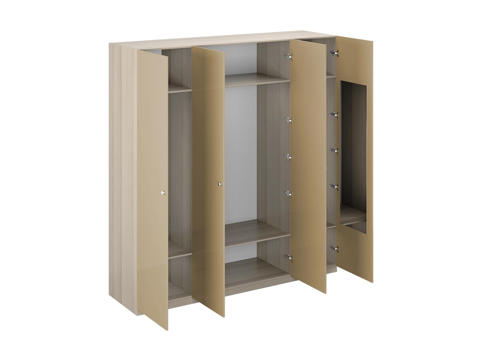 Шкаф Uno Ш4зПлатяные шкафы<br>Шкаф четырехдверный состоит их трёх отделений. В отделениях расположены верхние стационарные и нижние съемными полки. На одной дверце шкафа с внутренней стороны расположено зеркало. Шкаф установлен на регулируемые опоры. Данную мебель рекомендуется крепить к стене. Ручки и внутренние элементы продаются отдельно.<br><br>Material: ДСП<br>Width см: 220<br>Depth см: 60<br>Height см: 233