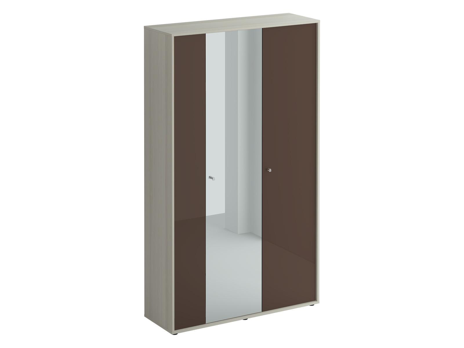 Шкаф трехдверный LatteПлатяные шкафы<br>Шкаф трехдверный. Шкаф стостоит из двух отделений. В большом отделении за двумя распашными дверцами расположены выдвижная штанга для одежды и две полки. В правом отделении расположены 5 полок. Шкаф крепится к стене.<br><br>Material: ДСП<br>Width см: 112<br>Depth см: 37<br>Height см: 191
