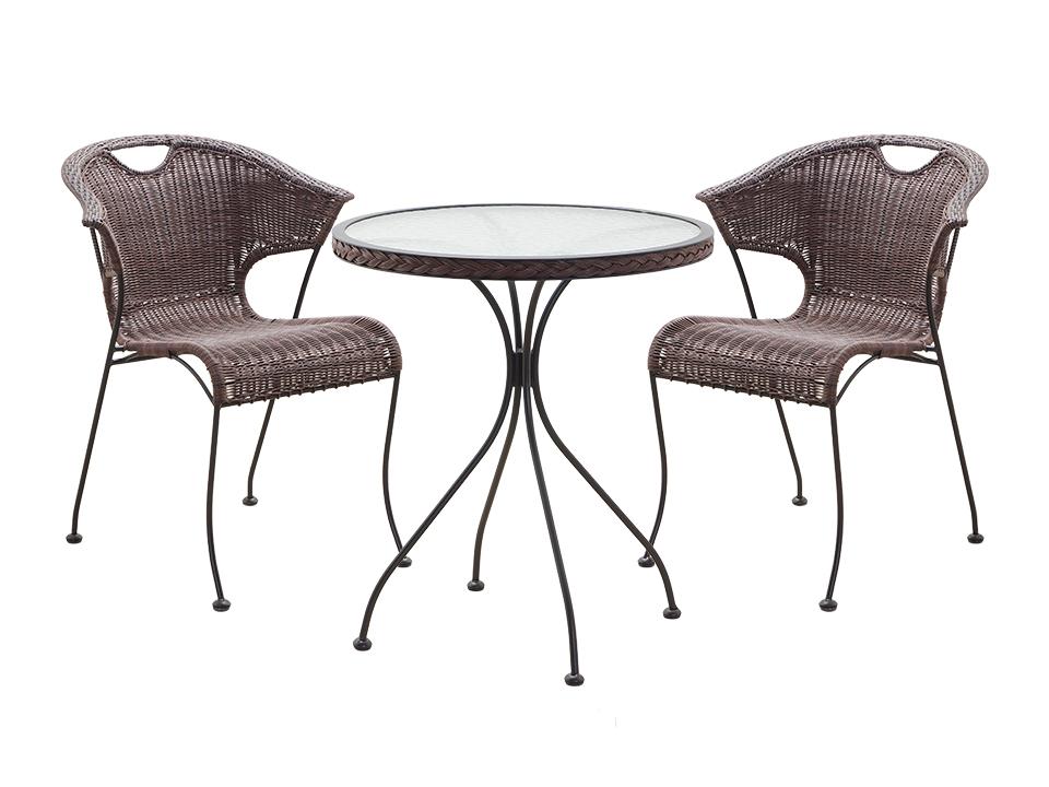 Комплект TenerifeКомплекты уличной мебели<br>В комплект входят: стол для сада со стеклянной столешницей и два плетеных кресла на металлических ножках&amp;lt;br&amp;gt;Размер кресла: 60х76,5х60 см&amp;lt;div&amp;gt;Размер стола: 60х72х60 см&amp;lt;/div&amp;gt;<br><br>Material: Ротанг<br>Width см: 60<br>Depth см: 60<br>Height см: 76,5