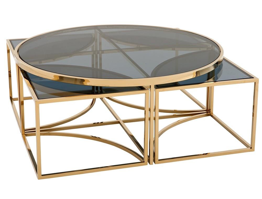 Журнальный столикЖурнальные столики<br>Столешницы выполнены из плотного стекла дымчатого цвета.<br><br>Material: Стекло<br>Width см: 99,5<br>Depth см: 99,5<br>Height см: 40,5