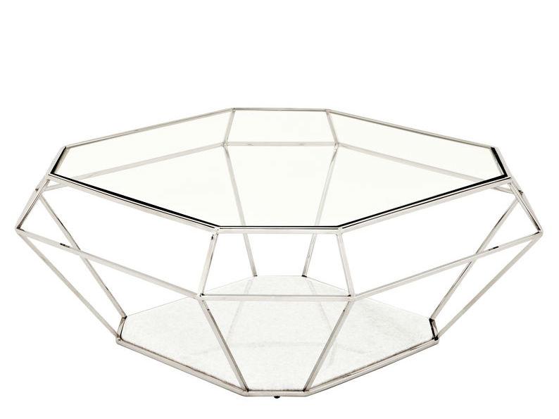 Журнальный столикЖурнальные столики<br>Журнальный столик выполнен из никелированного металла. Столешница из плотного прозрачного стекла. Основание из мрамора белого цвета.<br><br>Material: Стекло<br>Ширина см: 100.0<br>Высота см: 41.0<br>Глубина см: 100.0