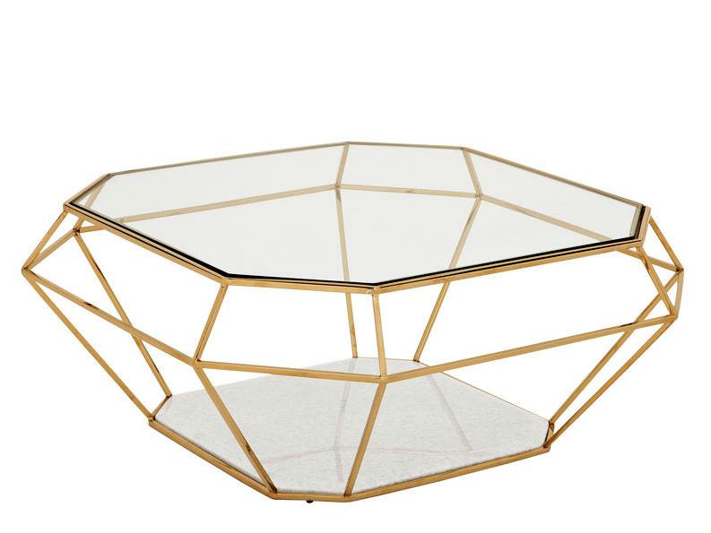 Журнальный столикЖурнальные столики<br>Журнальный столик выполнен из никелированного металла. Столешница из плотного прозрачного стекла. Основание из мрамора белого цвета.<br><br>Material: Стекло<br>Width см: 100<br>Depth см: 100<br>Height см: 41