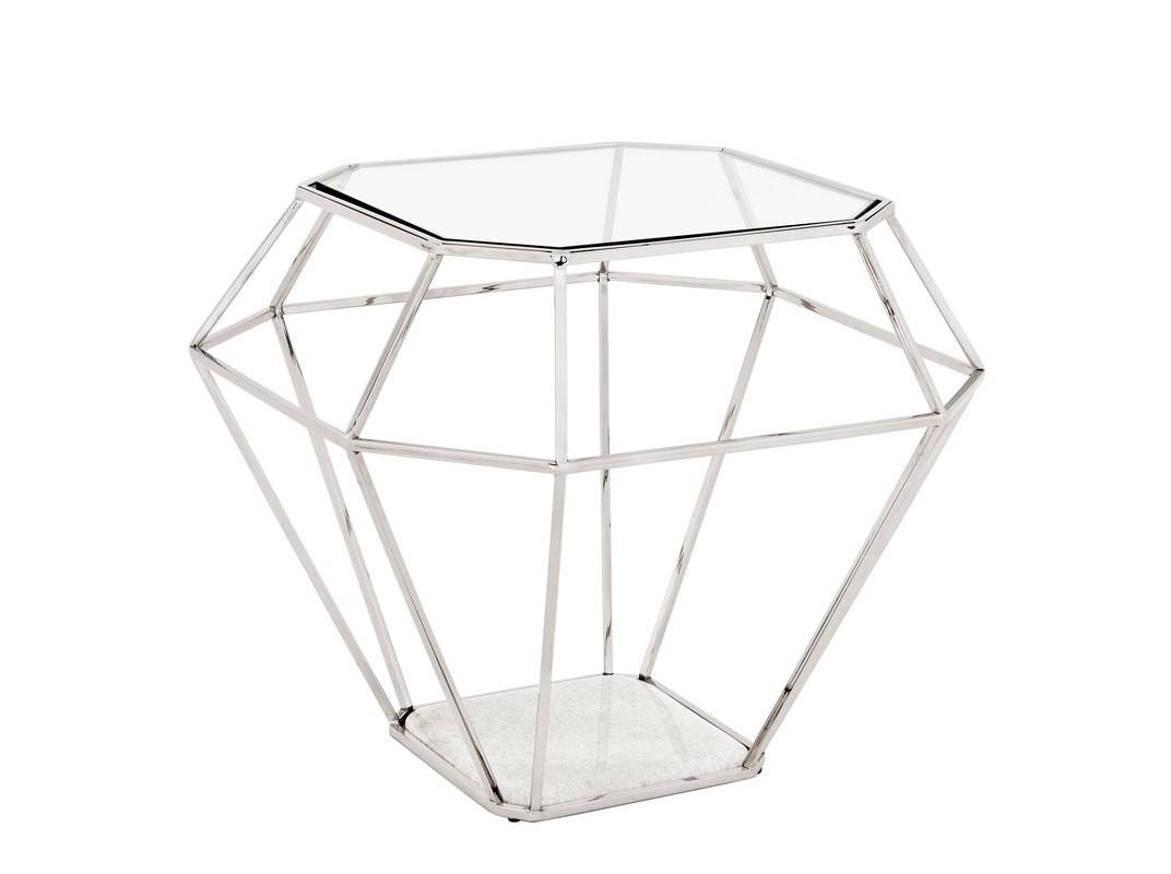 СтолПриставные столики<br>Приставной столик выполнен из никелированного металла. Столешница из плотного прозрачного стекла. Основание из мрамора белого цвета.<br><br>Material: Стекло<br>Width см: 65<br>Depth см: 65<br>Height см: 56