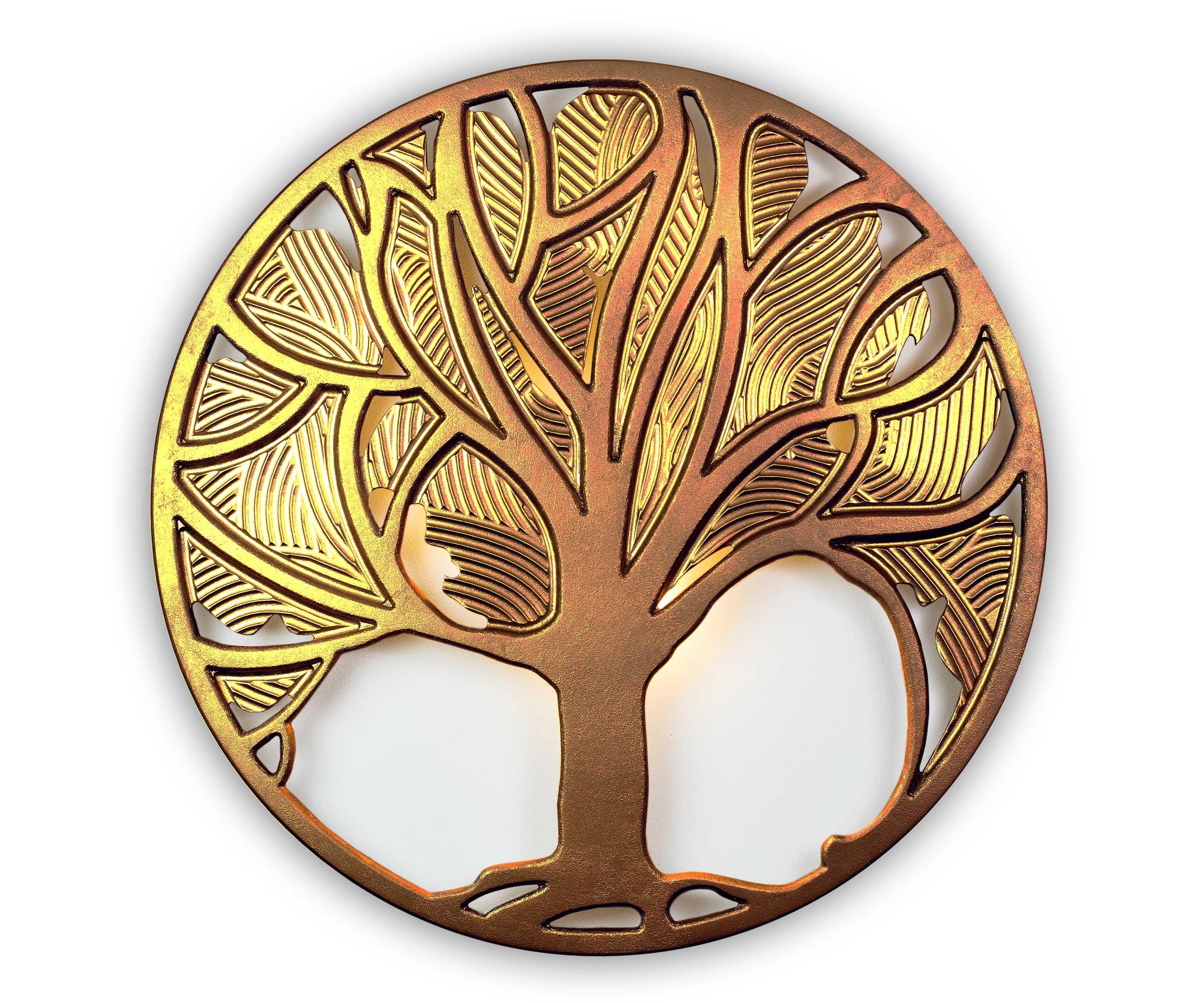 Панно FELICITYПанно<br>Могучие корни, крепкий ствол и щедрая на плоды крона – таким мы видим Древо жизни, Древо рода. <br>Добрый и одухотворяющий символ многих культур нашел воплощение в панно Felicity, чтобы каждый день напоминать нам о вечных ценностях.&amp;amp;nbsp;<br><br>Material: Дерево<br>Depth см: 0,8<br>Diameter см: 90