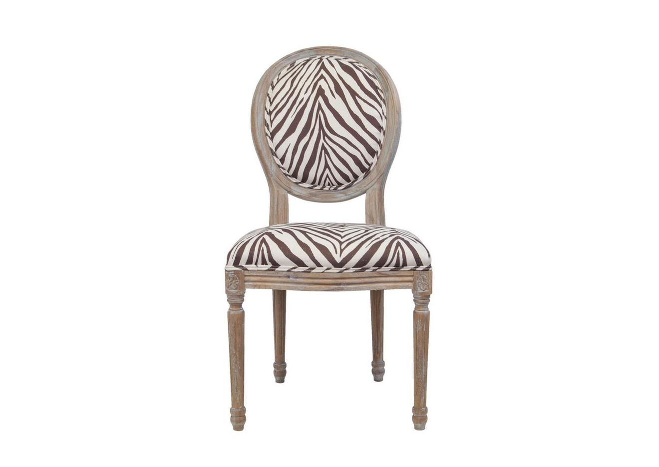Стул Miro zebraОбеденные стулья<br>Изысканный стул Miro с округлой спинкой, напоминающей медальон, выполнен в элегантном классическом французском стиле. Основание модели выполнено из цельной породы древесины - массива дуба, искусственно состаренного. Такой стул эффектно смотрится как в контрастной, так и в однотонной обстановке.&amp;lt;div&amp;gt;&amp;lt;br&amp;gt;&amp;lt;/div&amp;gt;&amp;lt;div&amp;gt;Материалы: лен, массив дуба&amp;lt;/div&amp;gt;<br><br>Material: Дуб<br>Width см: 50<br>Depth см: 56<br>Height см: 98
