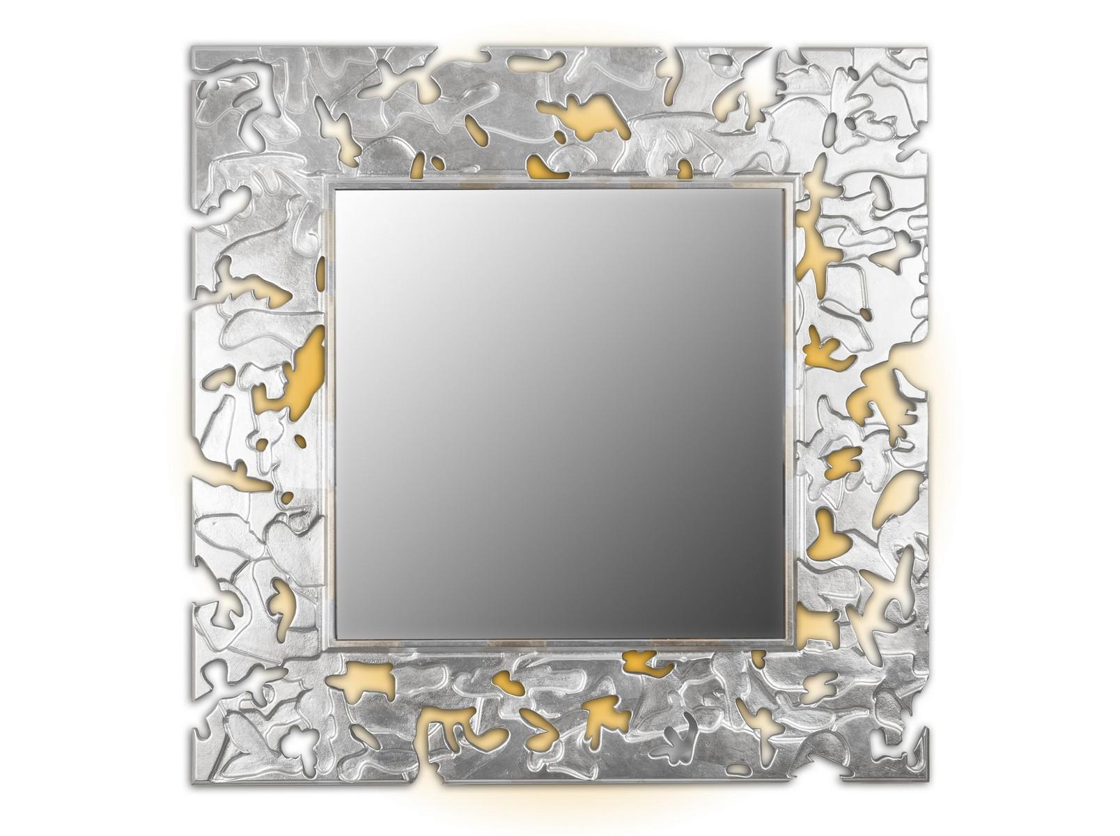 Зеркало CAMOUFLAGEНастенные зеркала<br>Данный вариант представлен в квадратной форме, цвет: золото и серебро.<br><br>Material: Дерево<br>Width см: 90<br>Depth см: 0,8<br>Height см: 90