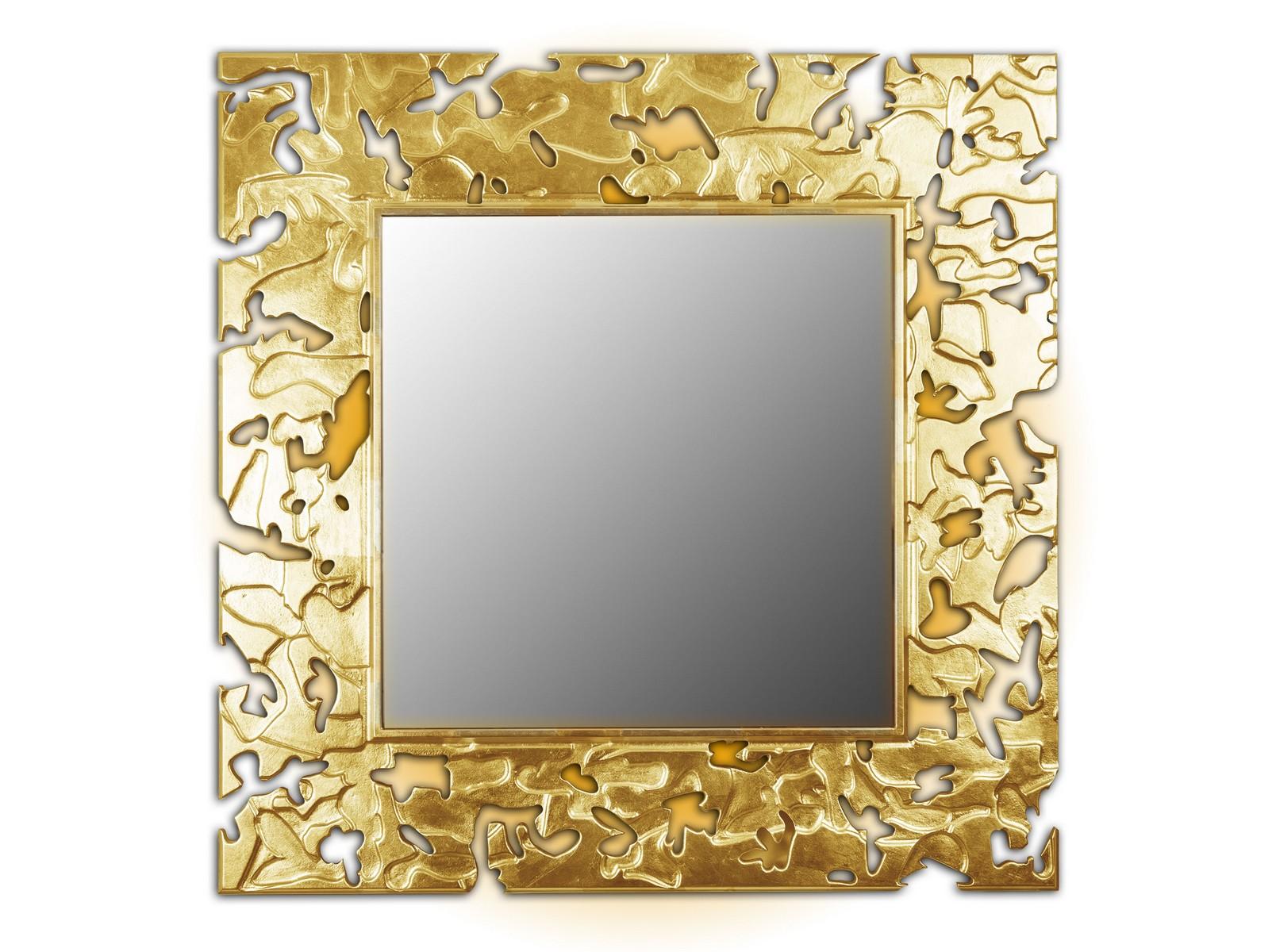 Зеркало CAMOUFLAGEНастенные зеркала<br>Данный вариант представлен в квадратной форме, цвет: золотой<br><br>Material: Дерево<br>Width см: 90<br>Depth см: 0,8<br>Height см: 90