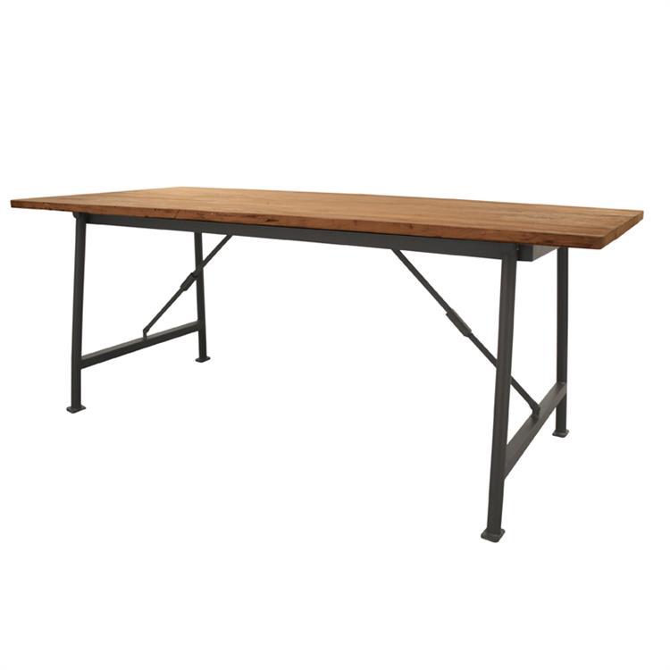 Стол HKОбеденные столы<br>Эффектный стол на складных металлических ножках. столешница из античного тика. Сборка не требуется<br><br>Material: Тик<br>Width см: 200<br>Depth см: 79<br>Height см: 90