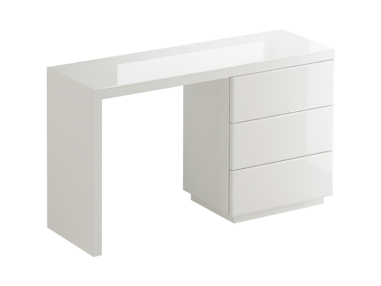 Туалетный столик KristalТуалетные столики<br>С этим столиком каждый день будет праздником! Только взгляните на то, как красиво переливается стеклянная столешница. У столика три шкафчика, открывающихся от нажатия, в них поместится все необходимое. Kristal отлично дополнит интерьер в стиле лофт.<br><br>Material: ДСП<br>Ширина см: 134<br>Высота см: 77<br>Глубина см: 46