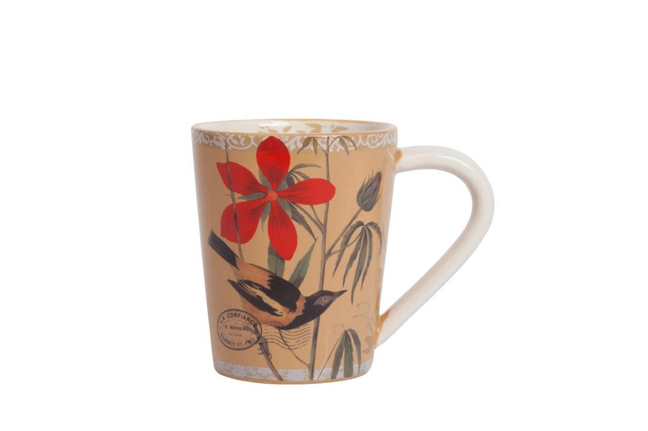 Кружка Montecito PeachЧайные пары, чашки и кружки<br>Кружка Montecito Peach выполнена из керамики в нежном бежевом цвете. Характерной особенностью декора кружки является изображение птички, несущей хорошую весть, которая подчеркнута красным цветком. Прекрасный выбор в качестве подарка! Кружку можно приобрести также и с другими предметами данной серии.<br><br>Material: Керамика<br>Width см: 13<br>Depth см: 10<br>Height см: 9