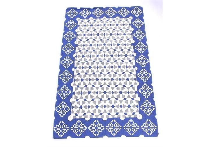 Хлопковый ковёр с синим узоромПрямоугольные ковры<br><br><br>Material: Хлопок<br>Width см: 90<br>Depth см: 2<br>Height см: 150