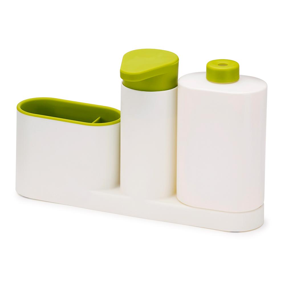 Органайзер для раковины с дозатором для мыла и бутылочкой Sinkbase plusЕмкости для хранения<br>Функциональный набор для организации пространства на кухонной раковине.  <br>Набор состоит из удобного дозатора для жидкого мыла, бутылочки для моющего средства и подставки с двумя отделениями для щеток и губок. Благодаря компактному дизайну органайзер может быть размещен даже на узкой стороне раковины. Дополнен многоразовой бутылочкой для моющего средства. Разбирается для легкой чистки.<br>Мыть рекомендуется только вручную.<br><br>Material: Пластик<br>Length см: None<br>Width см: 27<br>Depth см: 16,5<br>Height см: 6<br>Diameter см: None