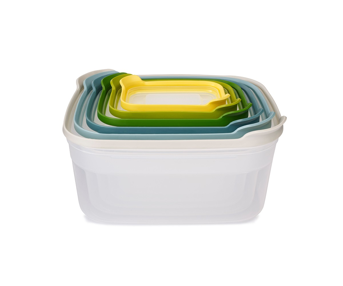 Контейнеры для хранения продуктов NestЕмкости для хранения<br>Компактный набор из 6 контейнеров для хранения. Бестселлер от Joseph Joseph в новой цветовой гамме.<br><br>Как известно, обычные ёмкости для хранения продуктов, когда не используются, занимают очень много ценного пространства в кухонном шкафу. Крышки и контейнеры часто теряются или не соответствуют друг другу по размеру. Наборы Nest™ представляют собой удачное решение этой проблемы. Продуманный дизайн позволяет хранить контейнеры, занимая минимум места на полке.<br>Контейнеры Nest™  легко складываются друг в друга и оснащены крышками с цветовой маркировкой для быстрого и удобного поиска.<br>Все составляющие наборов подходят для хранения продуктов в холодильнике и для разогрева обеда в микроволновой печи. Не содержат ВРА (Бисфенол).<br><br>Material: Пластик<br>Width см: 25,5<br>Depth см: 21<br>Height см: 12,5