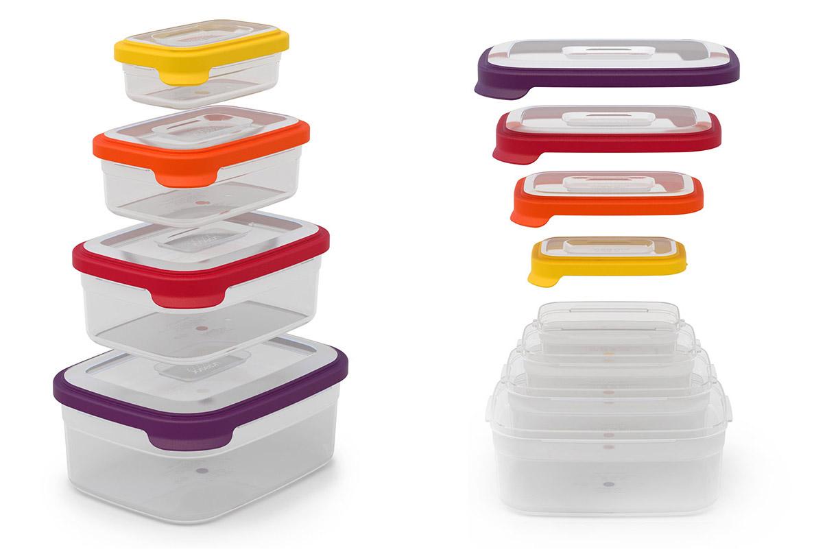 Контейнеры для хранения продуктов NestЕмкости для хранения<br>Компактный набор из  4 контейнеров для хранения.<br>Как известно, обычные ёмкости для хранения продуктов, когда не используются, занимают очень много ценного пространства в кухонном шкафу. Крышки и контейнеры часто теряются или не соответствуют друг другу по размеру. Наборы Nest™ представляют собой удачное решение этой проблемы. Продуманный дизайн позволяет хранить контейнеры, занимая минимум места на полке.<br>Контейнеры Nest™  легко складываются друг в друга и оснащены крышками с цветовой маркировкой для быстрого и удобного поиска. В набор входят контейнеры 4-х разных объемов: 1,85 л., 1,1 л., 540 мл. и 230 мл.<br>Все составляющие набора подходят для хранения продуктов в холодильнике и для разогрева обеда в микроволновой печи. Не содержат ВРА (Бисфенол).<br><br>Material: Пластик<br>Width см: 21<br>Depth см: 16<br>Height см: 11
