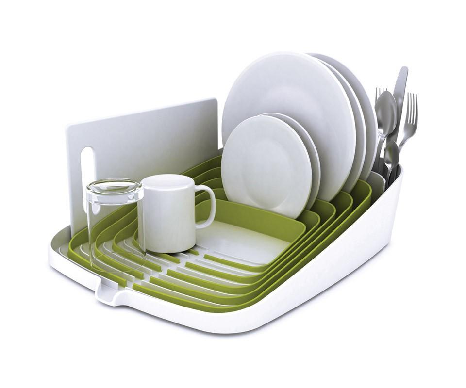 Сушилка для посуды и столовых приборов со сливом ArenaАксессуары для кухни<br>Инновационный, компактный дизайн предоставляет обширное пространство для хранения и сушки посуды. От обычных сушилок ее отличают жесткие ребра, которые надежно удерживают посуду в соответствующих ячейках, помогая избежать следов и царапин при высыхании. Для столовых приборов предназначен вместительный держатель. Оригинальный дизайн с наклонным основанием и  специальным каналом позволяет вода от мокрой посуды быстро стекать в раковину.  <br>Рекомендуется ручное мытье.<br><br>Material: Пластик<br>Width см: 34,5<br>Depth см: 44<br>Height см: 10,5