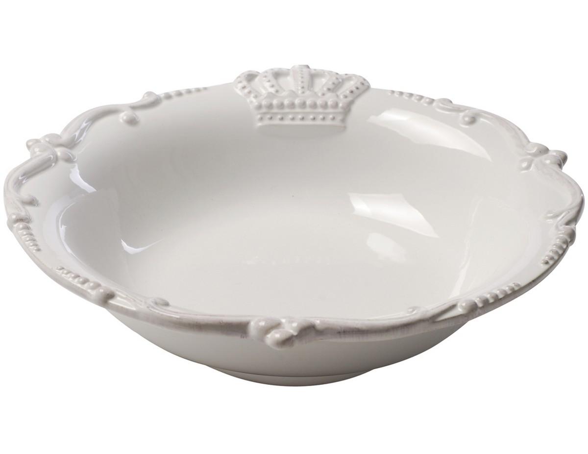 Салатник AishaЧаши<br>Изысканный керамический салатник Aisha изготовлен в белом цвете. Салатник украшен по краю рельефным рисунком, благодаря этому он выглядит элегантно, его можно сочетать с любым стилем декорирования.<br><br>Material: Керамика<br>Height см: 5<br>Diameter см: 23