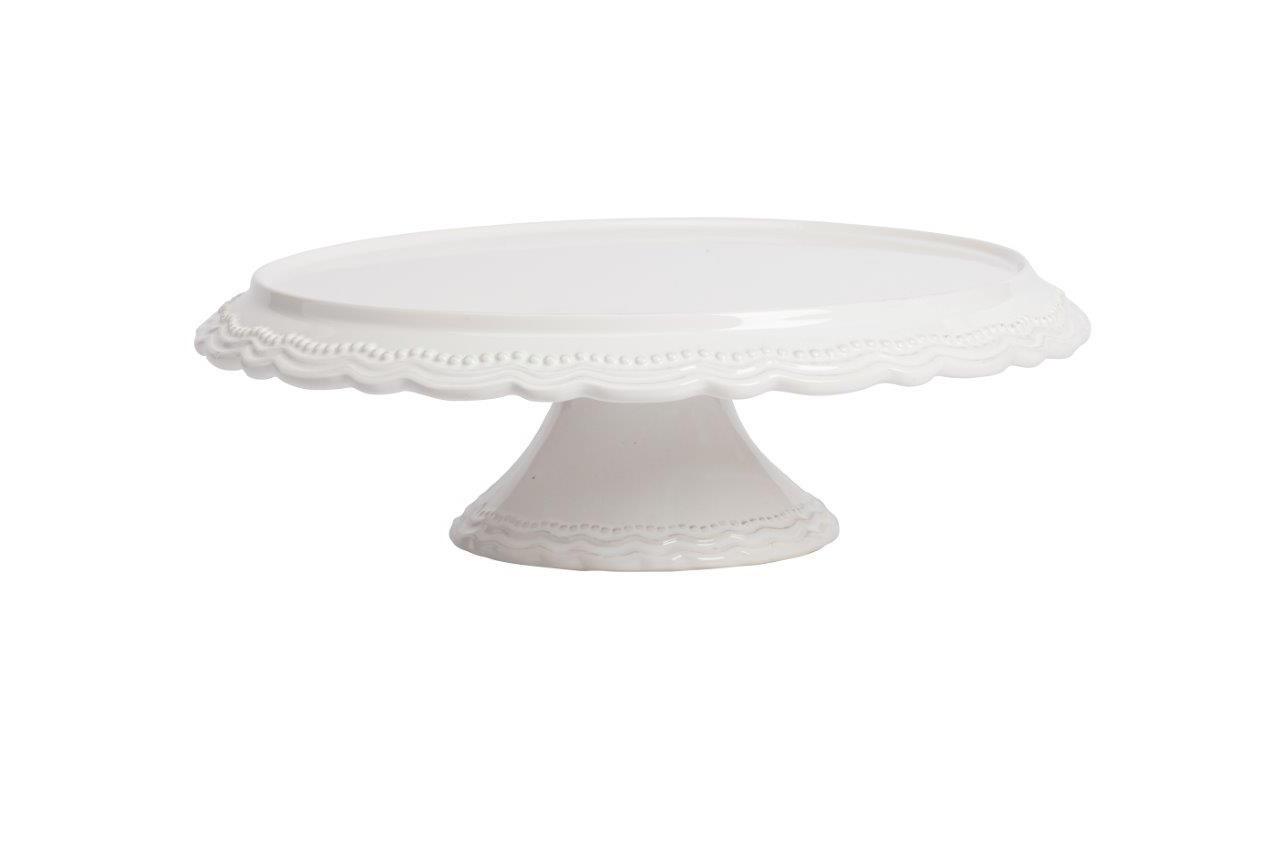 Подставка для сладостей AishaПодставки и доски<br>Подставка для кондитерских изделий Aisha изготовлена из керамики в изумительно белом цвете, края выполнены в виде лепестков и нанесён одноцветный рельефный рисунок.<br><br>Material: Керамика<br>Width см: None<br>Height см: 12,07<br>Diameter см: 38,1