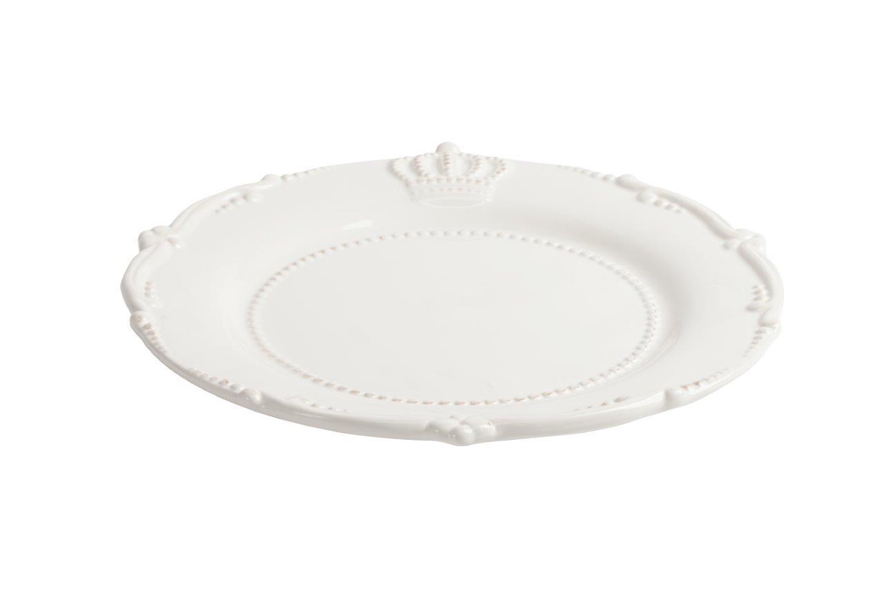 Большая тарелка AishaДекоративные тарелки<br>Элегантная белая тарелка Aisha в стиле Прованс выполнена из грубой керамики и декорирована рельефными изображением короны, окантована выпуклым рисунком, благодаря чему она станет украшением любого стола, сервированного к празднику или приему гостей. Также тарелка может служить самостоятельным элементом декора. Ее можно приобрести как отдельно, так и в дополнение к другим предметам коллекции Aisha.<br><br>Material: Керамика<br>Width см: None<br>Height см: 1<br>Diameter см: 29,21