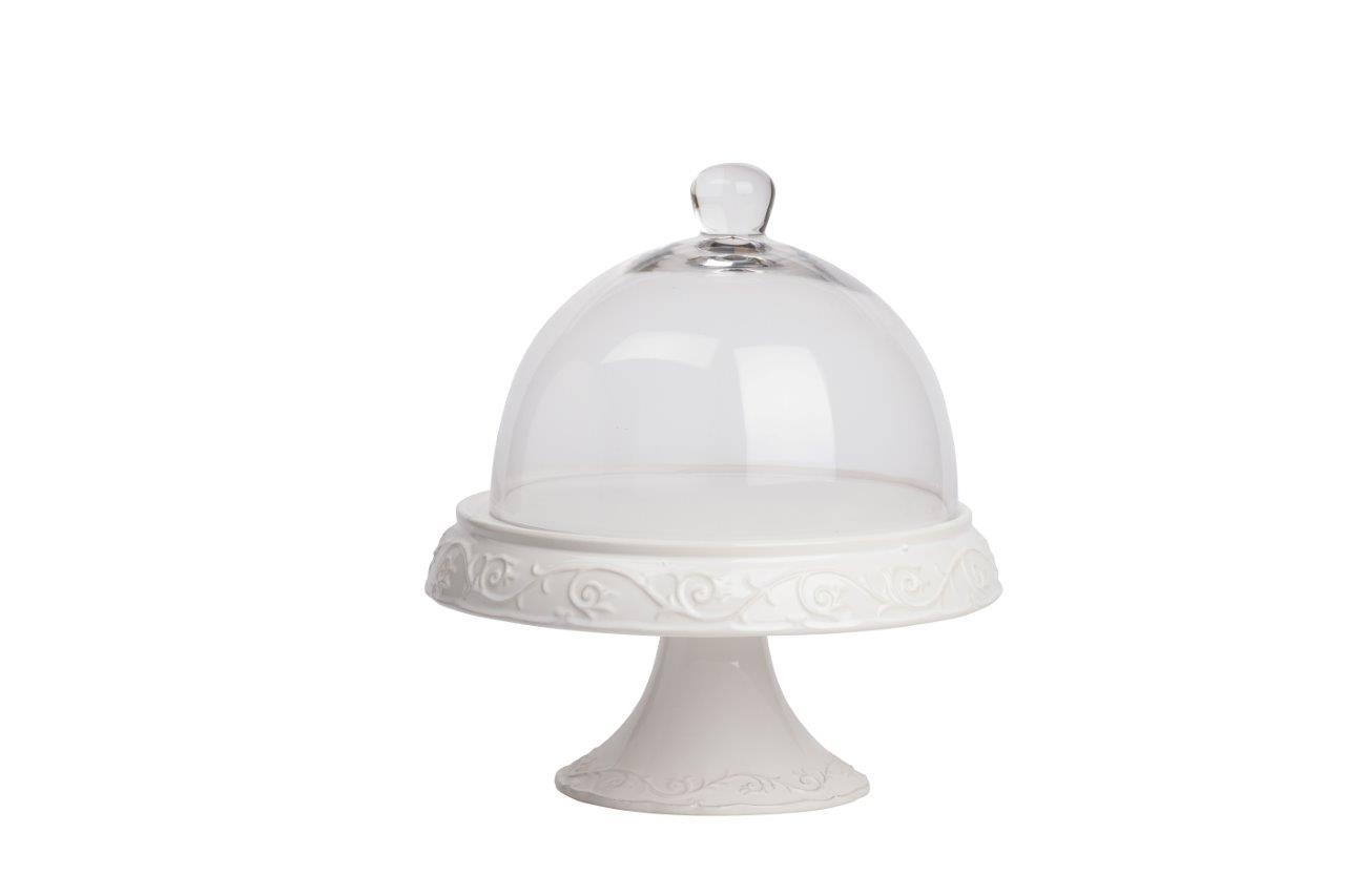 Сервировочный поднос с куполом JovanottiДекоративные подносы<br>Круглый сервировочный поднос со стеклянным куполом Jovanotti применим для подачи блюд заданной температуры. Корпус сделан из нержавеющей стали в белом цвете. Практичный и красивый дизайн позволит подать к столу изысканные блюда или напитки. Можно использовать как дома, так и в ресторане или кафе.<br><br>Material: Стекло<br>Height см: 36<br>Diameter см: 31