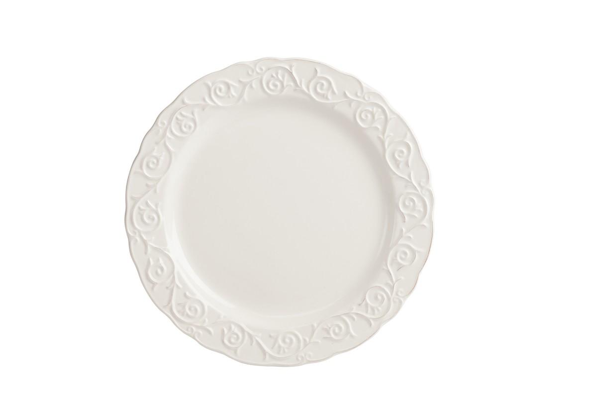 Тарелка JovanottiТарелки<br>Изысканная керамическая тарелка Jovanotti изготовлена в белом цвете. Тарелка обрамлена по краю рельефным рисунком, благодаря чему она выглядит элегантно, её можно сочетать с любым стилем декорирования. Тарелку можно приобрести как отдельно, так и в дополнение к другим предметам этой же коллекции.<br><br>Material: Керамика<br>Height см: 1<br>Diameter см: 24,1