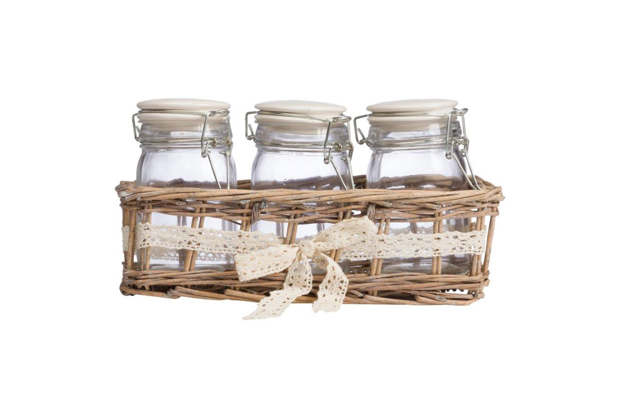 Набор для хранения в плетеной корзинке GingerБанки и бутылки<br>Набор из трех стеклянных банок с плотно закрывающимися крышками очень практичен и гармонично впишется в интерьер кухни в стиле Прованс. Благодаря плетеной корзинке все предметы набора будут храниться в одном месте.<br><br>Material: Стекло<br>Length см: None<br>Width см: 20<br>Depth см: 13<br>Height см: 25