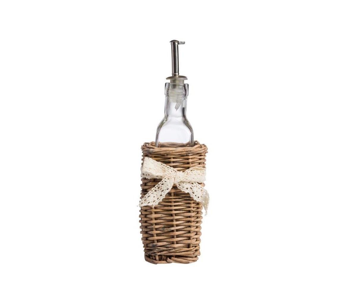 Бутылка для жидких приправ с дозатором CandiceБутылки<br>Эстетичная бутылка для жидких приправ изготовлена из стекла с металлическим дозатором, нижняя часть бутылки помещена в плетеную корзинку, изыскано перевязанную кружевной ленточкой, лаконично впишется в интерьер кухни.<br><br>Material: Стекло<br>Ширина см: 7<br>Высота см: 21<br>Глубина см: 7