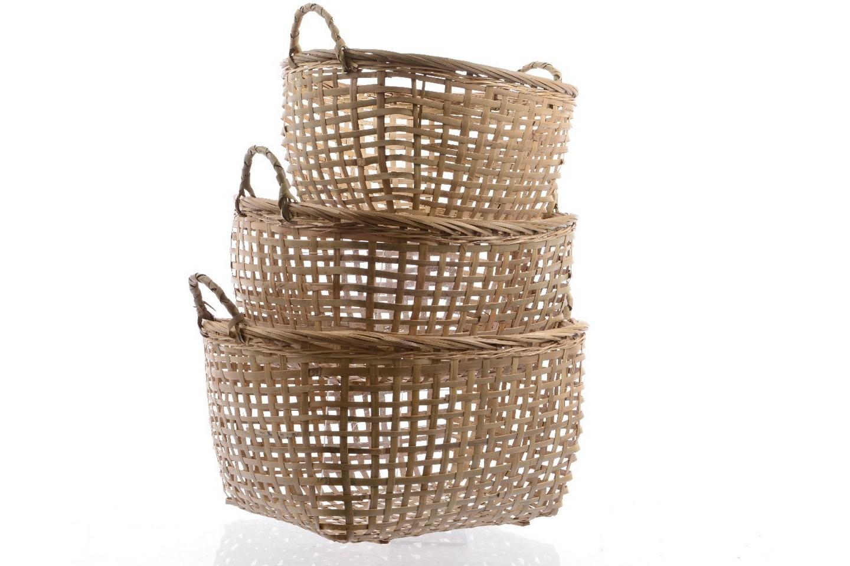 Комплект из трёх бамбуковых корзин