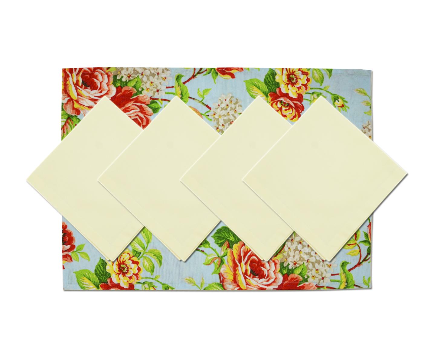 Комплект Rose bluСкатерти<br>Скатерть-дорожка на стол с набором салфеток 4 шт., размером 40/40/-/-/- Подойдет для романтического стиля и настроения.  Ткань прочная , износоустойчивая.<br><br>Material: Хлопок<br>Length см: 180<br>Width см: 40