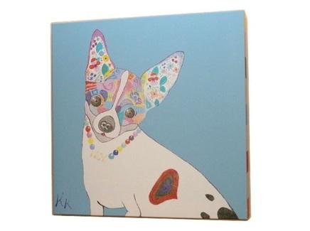 Постер собачка (кристина кретова) синий 43x43x3 см.
