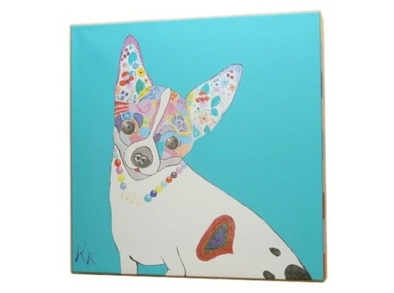 Постер собачка (кристина кретова) голубой 43x43x3 см.