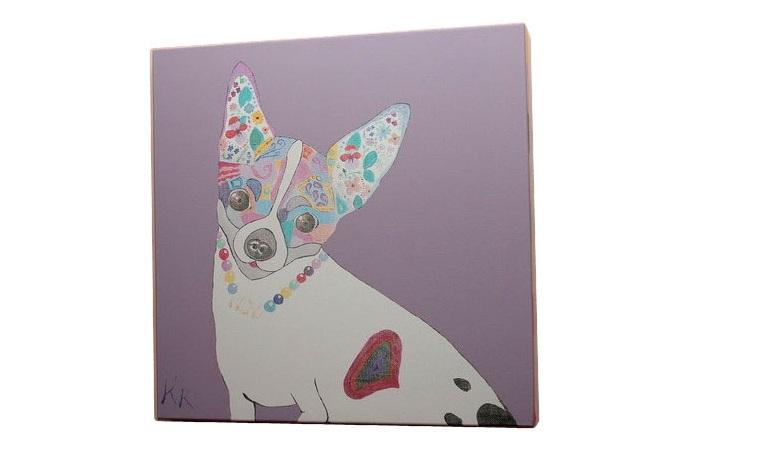 Постер собачка (кристина кретова) фиолетовый 43x43x3 см. фото