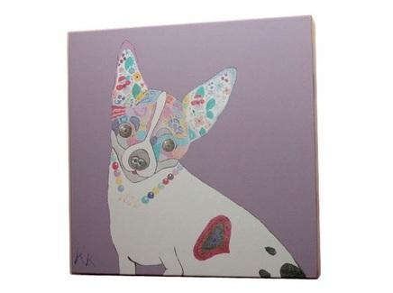 Постер собачка (кристина кретова) фиолетовый 43x43x3 см.