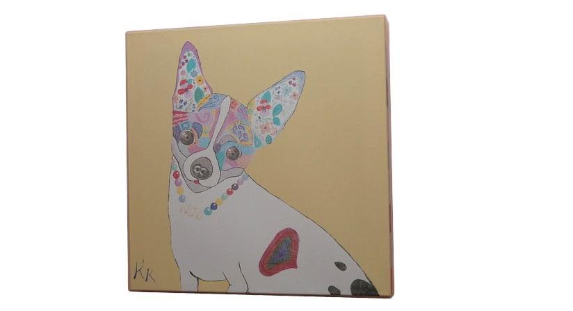 Постер собачка (кристина кретова) коричневый 43x43x3 см. фото