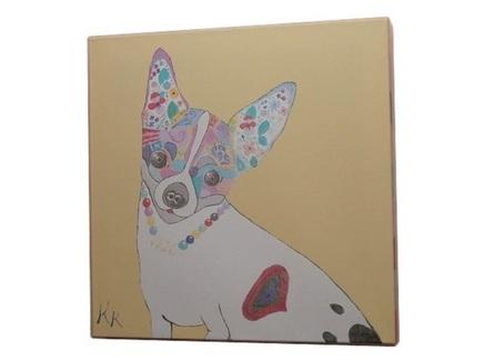 Постер собачка (кристина кретова) коричневый 43x43x3 см.
