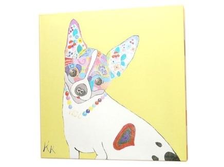 Постер собачка (кристина кретова) желтый 43x43x3 см.