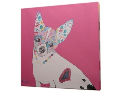 Постер собачка (кристина кретова) розовый 43x43x3 см.