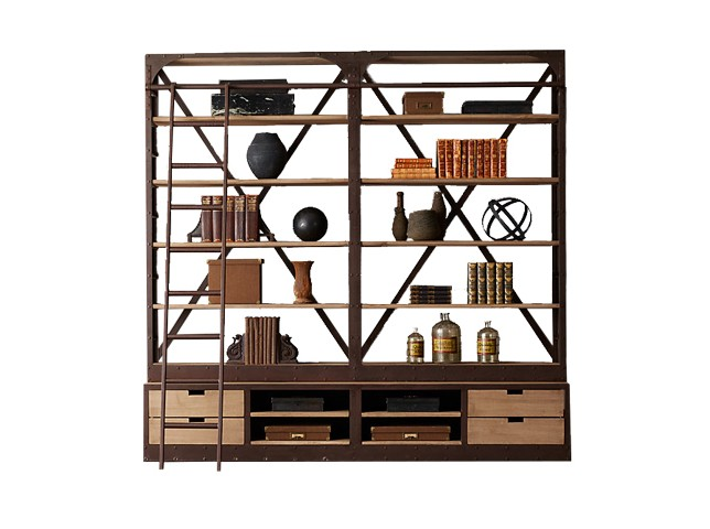Стеллаж ДачСтеллажи<br>Оригинальный стеллаж для любителей попутешествовать и привезти с собой эксклюзивный сувенир, коллекцию которых подчеркнет аутентичный шкаф. Каркас выполнен из дерева с металлическими элементами в стиле американская буржуазность.<br><br>Материал: натуральная древесина, стойки, лестница - металл.<br><br>Material: Дерево<br>Length см: 254<br>Depth см: 46<br>Height см: 246