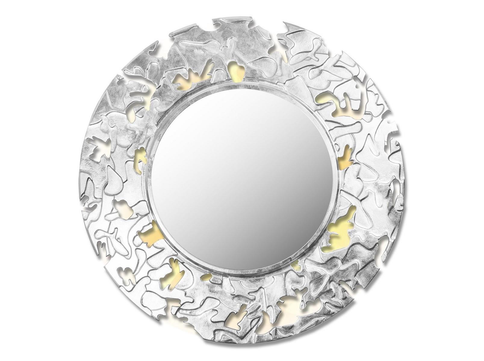 Зеркало CAMOUFLAGEНастенные зеркала<br>Данный вариант представлен в круглой форме, цвет: серебро.<br><br>Material: Дерево<br>Depth см: 0,8<br>Height см: None<br>Diameter см: 90