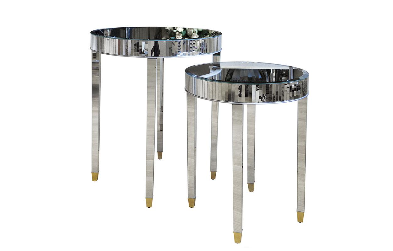 Комплект из двух столовПриставные столики<br>Размеры столов: 66х76х66 см, 50,8х58,4х50,8 см&amp;lt;div&amp;gt;Материалы: мдф, стекло&amp;lt;/div&amp;gt;<br><br>Material: Стекло<br>Height см: 76<br>Diameter см: 66