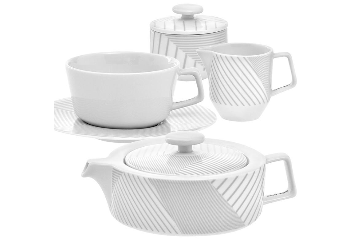 Чайный сервиз MALVERN на 6 персонЧайные сервизы<br>&amp;lt;div&amp;gt;Утонченный чайный сервиз MALVERN состоит из молочника, заварочного чайника, сахарницы и 6 чашек с блюдцами. Эта фарфоровая посуда бело-серой цветовой гаммы создана для современной чайной церемонии. Ничего лишнего. Все предельно лаконично, просто, и между тем изысканно. Актуальности набору придает оригинальная расцветка в полоску, на всех предметах разная. Это, с одной стороны, подчеркивает индивидуальность элементов сервиза, а с другой говорит об их принадлежности к одному набору.&amp;amp;nbsp;&amp;lt;/div&amp;gt;&amp;lt;div&amp;gt;&amp;lt;br&amp;gt;&amp;lt;/div&amp;gt;&amp;lt;div&amp;gt;В набор входят:&amp;amp;nbsp;&amp;lt;/div&amp;gt;&amp;lt;div&amp;gt;заварочный чайник MALVERN, 1,2 л – 1 шт.;&amp;lt;/div&amp;gt;&amp;lt;div&amp;gt;молочник MALVERN - 1 шт.;&amp;lt;/div&amp;gt;&amp;lt;div&amp;gt;сахарница MALVERN - 1 шт.;&amp;lt;/div&amp;gt;&amp;lt;div&amp;gt;чайная пара MALVERN, 235 мл - 6 шт.&amp;lt;/div&amp;gt;&amp;lt;div&amp;gt;&amp;lt;br&amp;gt;&amp;lt;/div&amp;gt;<br><br>Material: Фарфор