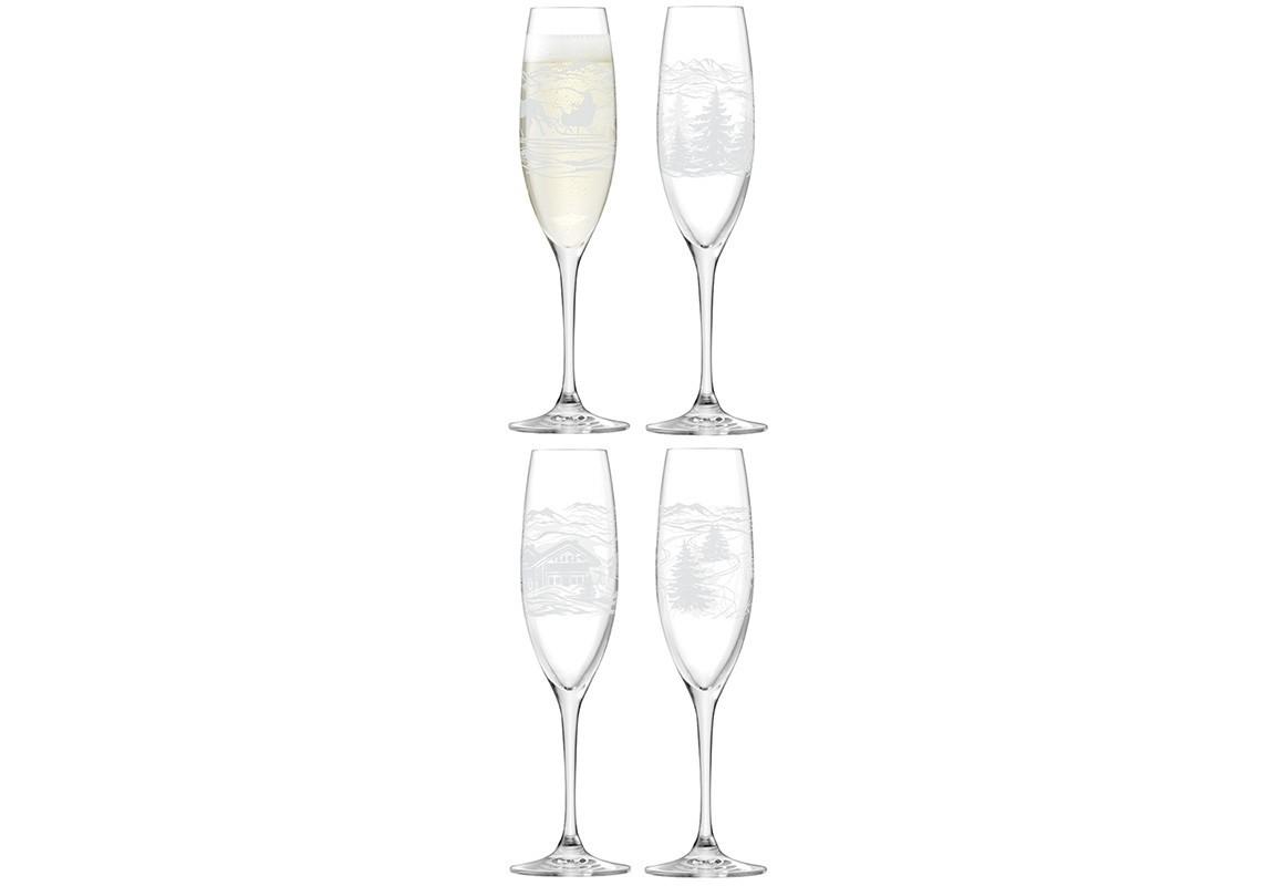 Бокал для шампанского TIROL (4 шт)Объём: 225 мл.<br><br>Material: Стекло