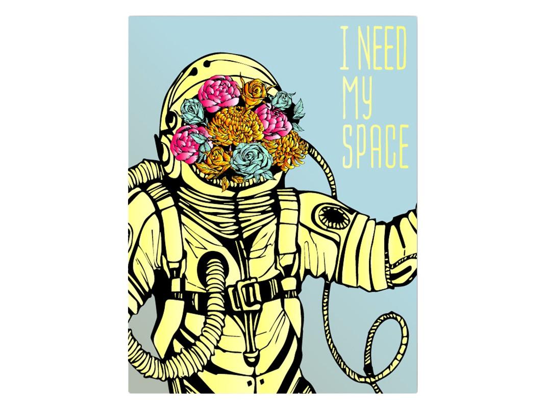 Картина I need my spaceКартины<br>Мне нужна своя вселенная  .<br>Несмотря на то, что вселенная бесконечна и безгранична, иногда нам так не хватает личного пространства, что хочется построить ракету и полететь на поиски своей собственной вселенной, где всё будет так, как Вам хочется.<br>Ежедневная суета и проблемы, от которых уже некуда деться, обиды и ссоры, пробки на дорогах и час пик в метро  - всё это просто выбивает нас из колеи.<br>В такие дни особенно хочется погрузиться с головой в свой собственный мир.<br>Создайте у себя дома свою маленькую уютную вселенную, в которой Вы будете чувствовать себя спокойно и комфортно. А создать уют, и наполнить дом красотой Вам поможет картина   I need my space  .<br><br>Material: Холст<br>Width см: 50<br>Height см: 70