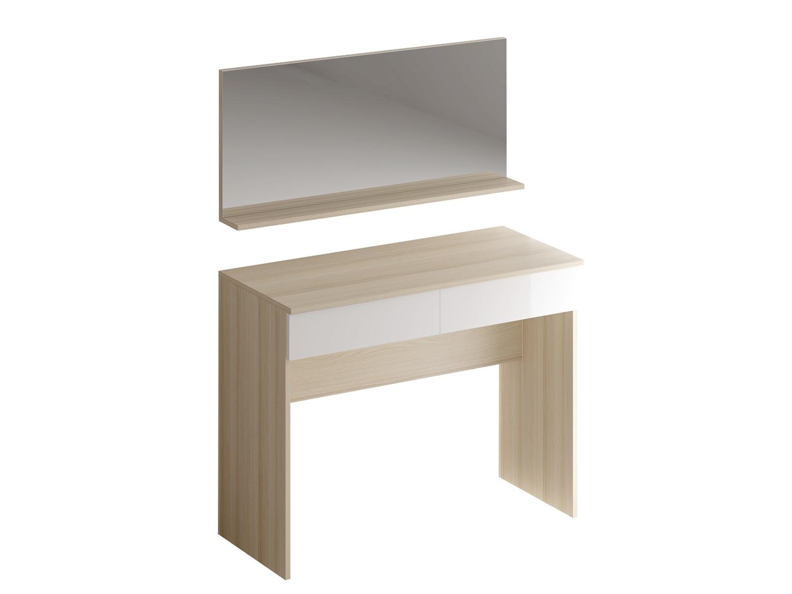 Туалетный столик с зеркалом UnoТуалетные столики<br>Туалетный столик с двумя выдвижными ящиками и зеркалом.<br><br>Material: ДСП<br>Ширина см: 100<br>Высота см: 123<br>Глубина см: 45