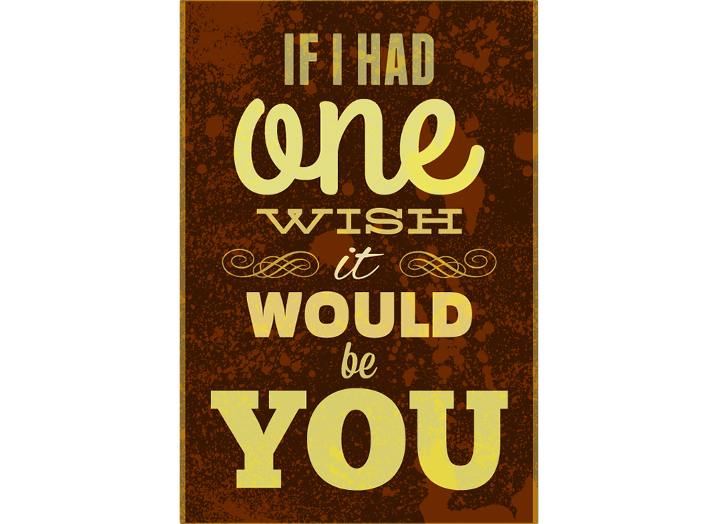 Постер One wish Размер A2Постеры<br>If I had one wish it would be you   -   Если бы у меня было одно желание -  я бы пожелал тебя<br><br>Material: Бумага<br>Width см: 42<br>Height см: 59